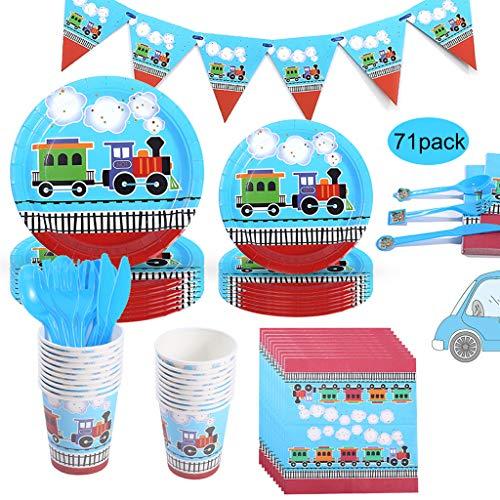 Amycute Juego de vajilla de fiesta de 71 piezas para fiestas de cumpleaños infantiles, platos, vasos y servilletas, para 10 invitados.