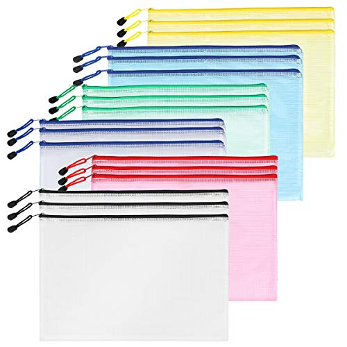 SUNEE Plastic Mesh Zipper Pouch (6 Color, 18 Packs) - Zip File Folder Bags for B5 Paper Size, Ideal for Office Supplies, Cosmetics, Travel Storage, Bills, Accessories Organizing Storage