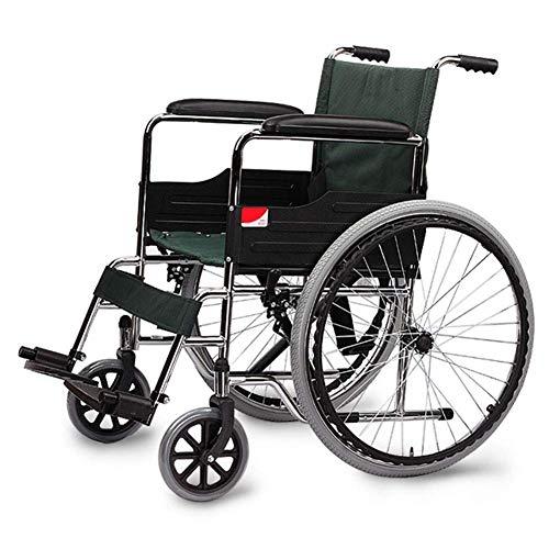ZHITENG Leichter zusammenklappbarer Reiserollstuhl, tragbarer Rollator mit Handbremse, Fußstütze für ältere Menschen