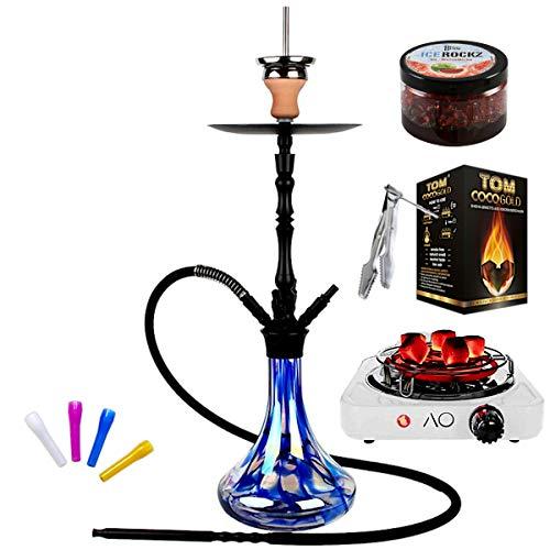 Aladin AluX 4 Shisha - 62 cm, Premium-Shisha-Set mit 4 Schlauchanschlüssen, Klick, Closed Chamber, Ice Rockz, Naturkohle & Kohleanzünder, Farbe:blau