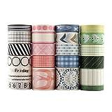 20 pcs Washi tape, Lychii tape decorativo coprente per lavoretti di fai da te, diari, biglietti, schizzi (Basis)