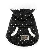 smalllee Lucky almacenar Ropa para pequeñas de Mascota Perro Gato Chaleco con Forro Polar de Invierno Abrigo Chaqueta con Capucha Disfraz Vestido Lunares Negro XL