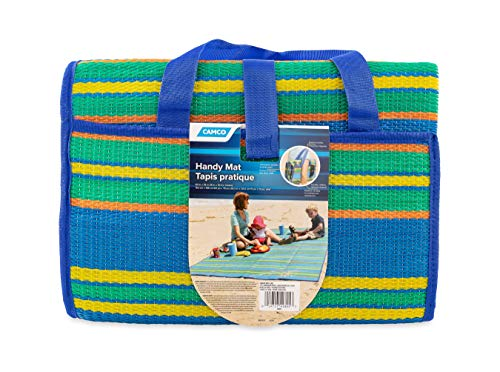 Camco Handy Mat with Strap, Perfect for Picnics, Beaches, RV and Outings, Weather-Proof and Mold/Mildew Resistant (Blue/Green - 60' x 78')