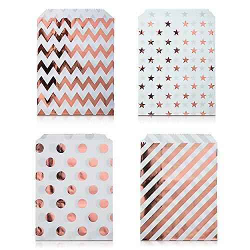 Czemo 100 Stück Papiertüten Candy Bar / Candy Tüten / Geschenktüten / Süssigkeiten Beutel / Bonbon Taschen 4 Verschiedene Designs 18 x 13CM (Rose Gold)