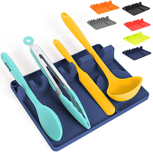 Sunhanny Silicone Spoon Rest for Kitchen Counter Kitchen Utensil Holder for Countertop with Hang Hole Include 5 Slots and 1 Spoon Holder for Stove Top Heat Resistant Dishwasher Safe Blue