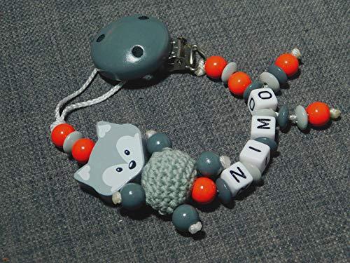 Schnullerketten mit Namen für Mädchen und Jungs-verschiedene Model-Geschenk zur Geburt oder Taufe-Schnullerhalter, Farbbezeichnung: Fuchs-ros-grau-h.grau