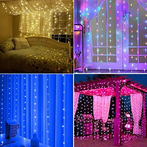 HEITIGN 300 LED-Fenster Vorhang Lichterketten, Farbwechsel Regenbogen Vorhang Lichterketten, USB-Fernbedienung Lichterketten für Valentinstag Schlafzimmer Hochzeiten Party Weihnachten Geburtstag
