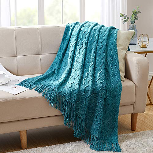 Bourina Textured Solid Soft Sofa Throw Couch Cover Knitted...