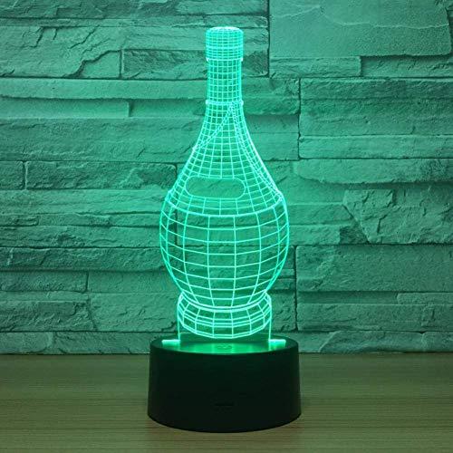 Lámpara visual 3D Ilusión óptica Luz nocturna LED 7 colores cambiantes Luz nocturna táctil Un regalo perfecto de Navidad y Año Nuevo para niñas y niños-Botella de vino tinto
