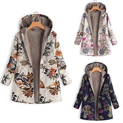 KaloryWee Women's Winter Outwear Floral Print Hooded Vintage Oversized Coats