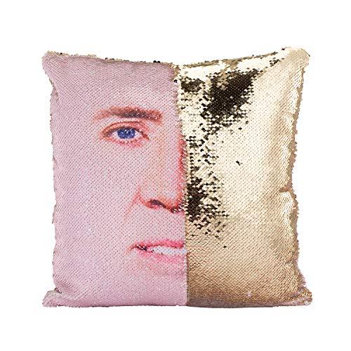 "Tiaronics DIY Magic Reversible Sequins Mermaid Pillow Cases Throw Pillow Covers Cushion CoverDecorative Pillowcase 4040cm(1616"") (1A Nicolas/Gold)"