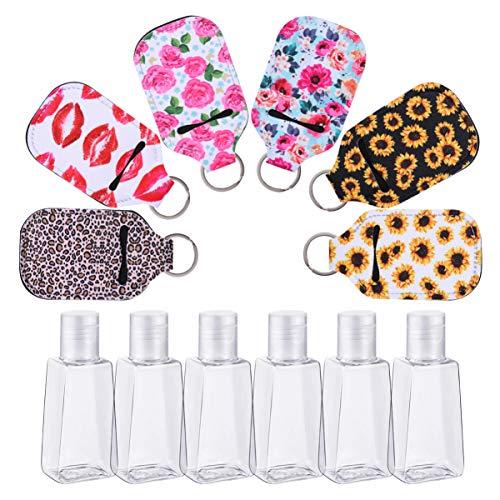Hemoton 6 Piezas Botella de Viaje Vacía con Soporte para Llavero 30 Ml Botellas de Perfume Recargables Contenedores de Almacenamiento con Llavero Portadores Funda para Viaje