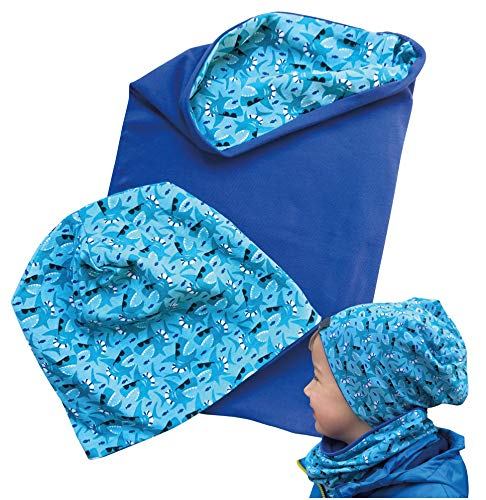 HECKBO Cappello, Beanie per Bambini + Girocollo - Ideale in Primavera, Estate, Autunno - Berretto con Stampa Squali, Reversibile - 2 – 8 anni - 95% Cotone - Morbido e pratico tessuto elasticizzato