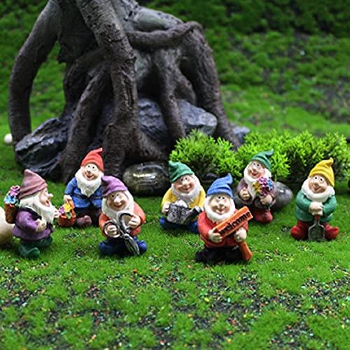NARFIRE 7PCS Garden Decoration Resin Dwarf Moss Micro Landscape Ornament Garden Sculpture Character Bonsai Accessories Elf