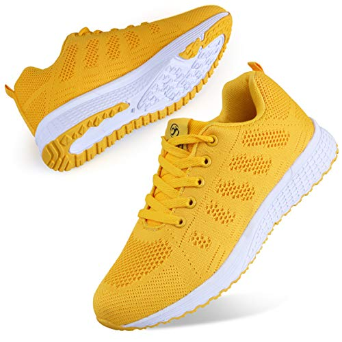 Youecci Zapatillas de Deportivos de Running para Mujer Deportivo de Exterior Interior Gimnasia Ligero Sneakers Fitness Atlético Caminar Zapatos Transpirable Amarillo 42 EU
