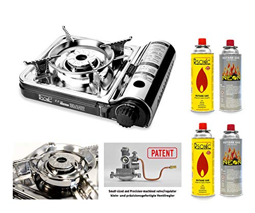 RSonic 7000-DFS Mini Slim tragbarer Campingkocher, Edelstahl Gaskocher, Tischkocher, 2.2 Kw, Schwarz-Chrom (Gaskocher+ 4 Gaskartuschen)