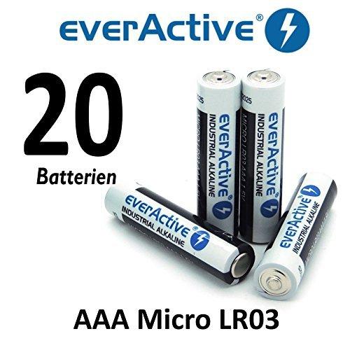 20 X everActive Micro AAA LR03 MN2400 MX2400 Alkalinebatterien 1200 mAh