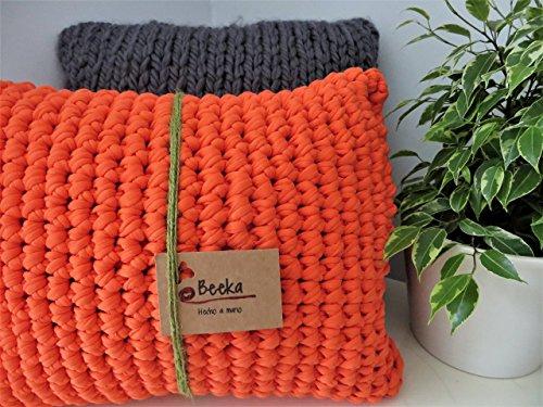 Cojín rectangular de algodón color naranja