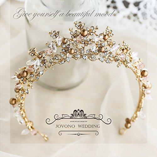 Jovono Hochzeitskronen und Diadem, für Erwachsene, Brautschmuck, Gold