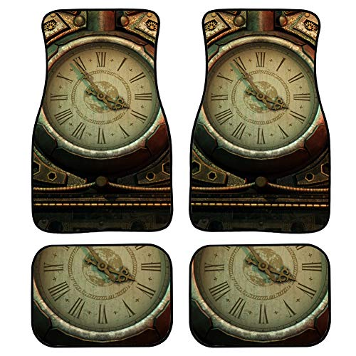 LMFshop 4 Pieces Universal Floor Mats Car 3D Computer Graphics Clock Steampunk Style Fancy Floor Mats for Cars Front & Rear Non-Slip Carpet with Rubber Backing for Car SUV Van & Truck