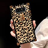 BABEMALL Compatible for Samsung Galaxy S9 Plus case Elegant Premium Leopard Square TPU+PU Leather Protective with Shock Absorption Metal Decoration Corner Back Case (Gold)