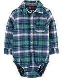 Osh Kosh Baby Boys Woven Bodysuit, Blue/Green Plaid, 12 Months