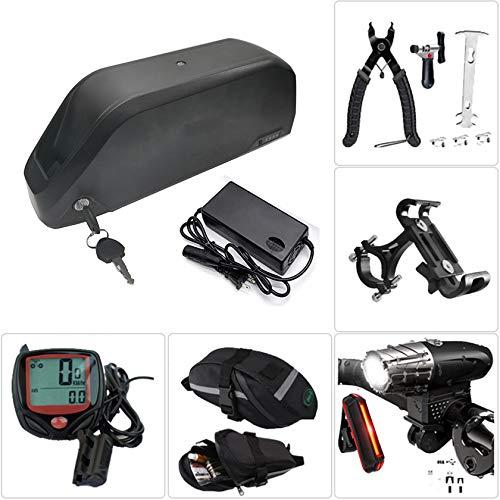 Cargador de batería de bicicleta,para motor de250W~1000W,batería de bicicleta eléctrica con faro de carga USB y juego de luces traseras,herramienta de extracción,bolsa de sillín, cronómetro,36V16Ah