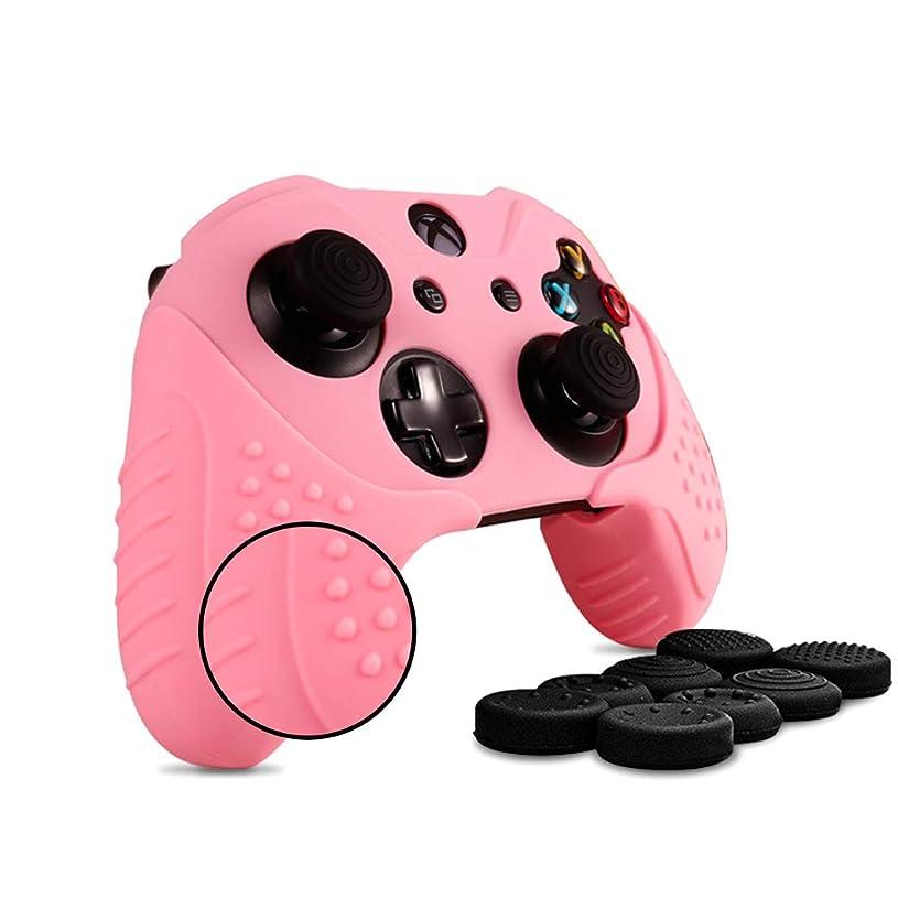 パークいくつかの倫理的コントローラーカバー Xbox1保護カバー シリコン スキンケース 耐衝撃保護 カバー1枚+ハンドル帽8個 (ピンク)