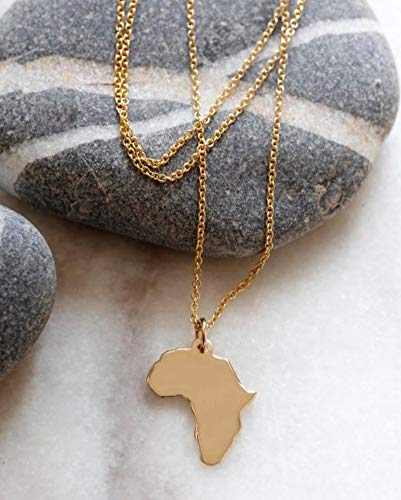 ZUXIANWANG Halskette Karte Anhänger mit Halskette Gold farbigen Afrika Anhänger mit Halskette Geschenk, eine
