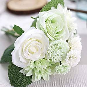 Artificial and Dried Flower Silk Flower Rose Artificial Bouquet for Wedding Home Decoration Dahlia Fake Flower Christmas Party Decoration – ( Color: White )