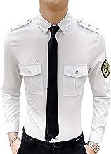 CYJ-shiba Men Epaulette Long Sleeves Dress Shirt Casual Club Button Down Shirt White Large