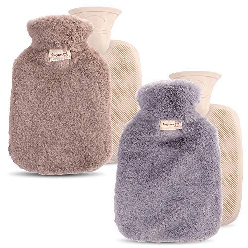 Plartree 2 Stück Wärmflasche mit Großem Fassungsvermögen und Deckel, wassergefülltes PVC Wärmflasche Geschmeidiges Kaninchenfell zur Schmerzlinderung, Nacken und Schultern