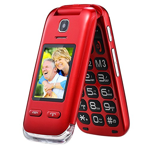 Obooy EG520 Senior Unlocked GSM Cell Phone, SOS Button, Hearing Aid Compatible Red