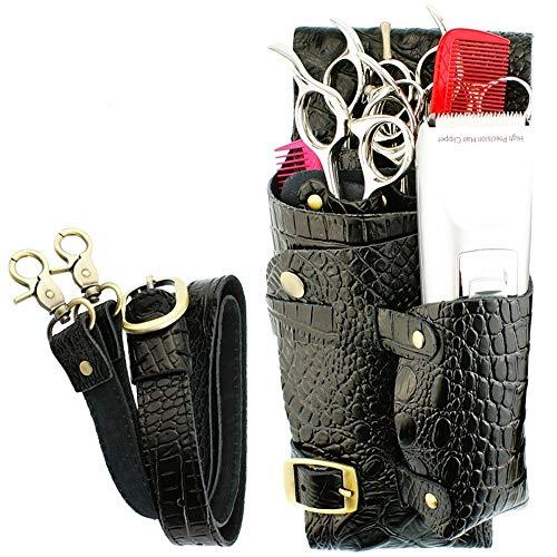 Sac de Coiffure Outils, Motif Crocodile Ciseaux Sac en Cuir Coiffeur Pocket Pouch Haircut Outils Salon de Coiffure Holster (Color : Black)