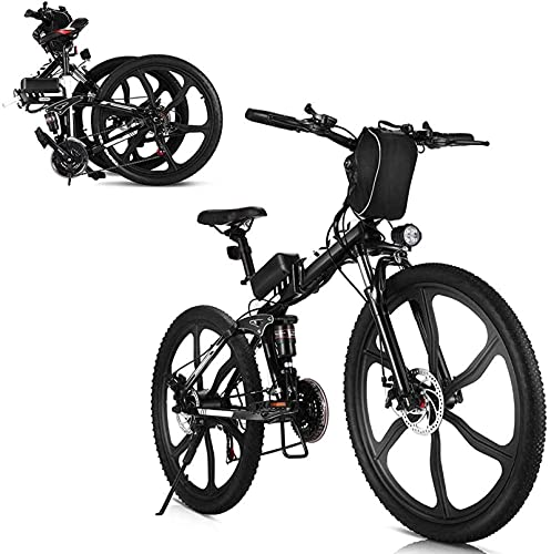 N&I Bicicleta eléctrica de 350 W de 26 pulgadas Folding Electric Mountain...