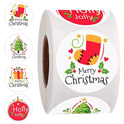 Kwangchow Merry Christmas Pegatinas Redondas de Círculo de Navidad Etiquetas Autoadhesivas en...