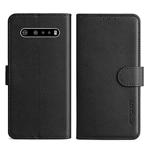 FMPCUON Handyhülle Kompatibel mit LG V60 Hülle Leder PU Leder Tasche,Flip Hülle Lederhülle Handyhülle Etui Handytasche Schutzhülle für LG V60,Schwarz