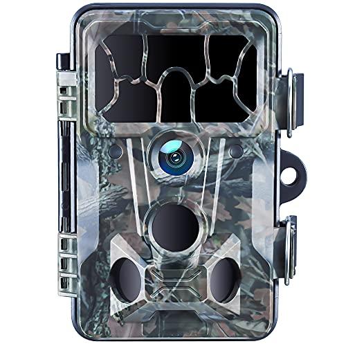 Wildkamera mit Bewegungsmelder Nachtsicht 20MP 1080P FHD 130° Weitwinkel Low Glühen Infrarot wasserdichte IP66 Jagdspielkamera for Tierbeobachtung und Überwachung von Eigentum