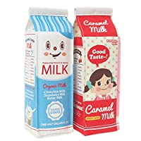 おもしろ 筆箱 / 立つ 牛乳 パック ペンケース / スタンド 型 ミルク ポーチ / ブルー