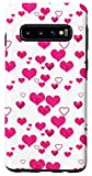 Galaxy S10 Fuschia Pink Hearts Pattern Love Valentines Day Women Case