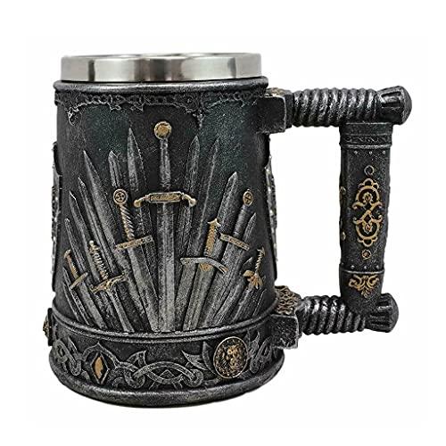 Gran Dragón Medieval Trono De Hierro De Espadas Y Escudos De Escudo Heráldico Taza De Café Amigos Decoración De Halloween (Capacity : 600ml, Color : Silver)