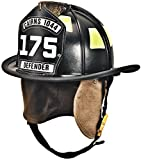 MSA 1044DDB Cairns 1044 Traditional Composite Fire Helmet with Defender, Deluxe Leather with Crown Pad, PBI/Kevlar Earlap, Lime/Yellow Reflexite, 6' Carved Brass Eagle, Black