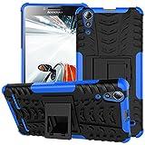 TiHen Handyhülle für Lenovo A6000 Plus Hülle, 360 Grad Ganzkörper Schutzhülle + Panzerglas Schutzfolie 2 Stück Stoßfest zhülle Handys Tasche Bumper Hülle Cover Skin mit Ständer -Blau