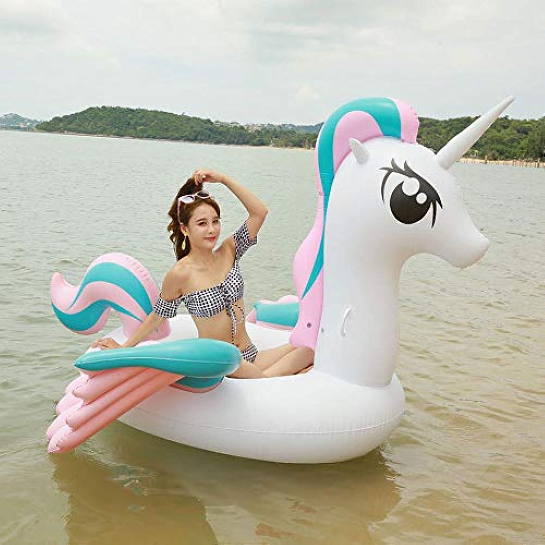 Inflatable toys Sommer Neue Erwachsene Einhorn Schwimmende Reihe Aufblasbare Spielzeuge, Schwimmring Pegasus Schwimmbett Strand Liegestuhl, Pool Spielzeug - 265  220  160 cm A