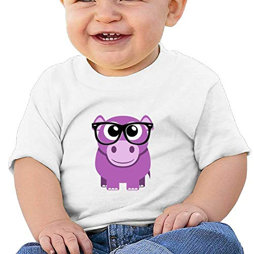 Pmguerxbfhyd Baby Girls Kids Cute Hippo with Glasses Short Sleeve Shirt