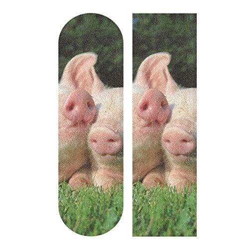 MNSRUU Griptape für Skateboard, Motiv: Schweine auf dem Gras, 22,9 x 83,8 cm