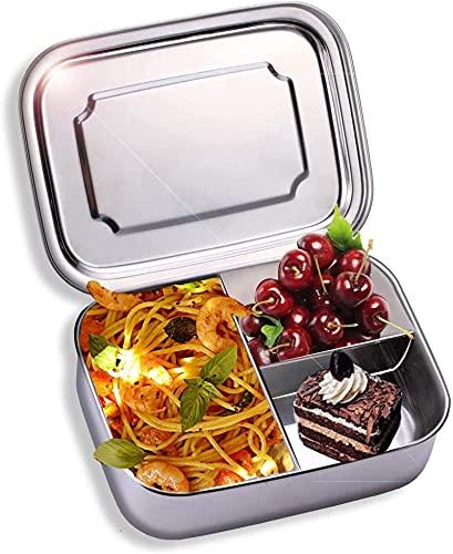 RENFEIYUAN Caja de Almuerzo de Acero Inoxidable, a Prueba de Fugas con 3 Compartimentos, 1000 ml, la Gran Caja de Almuerzo para Senderismo/Viajar/niños y Adultos Fiambrera Almuerzo