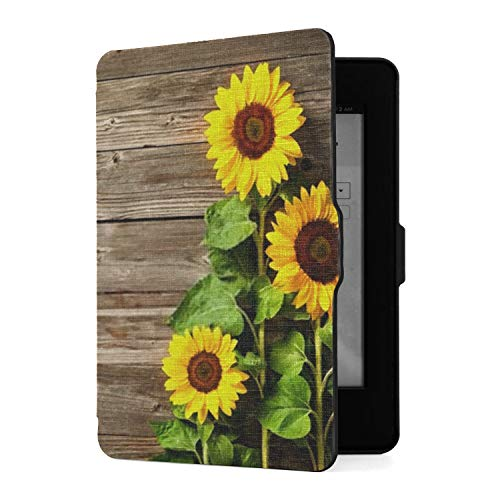 Case for Kindle Paperwhite Autumn Background Sunflowers On Wooden Board Kindle Paperwhite 3rd Generation Case Pu Leather Smart Cover with Auto Wake Sleep,fits All Paperwhite Generations Prior to 2018