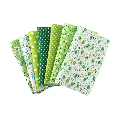 Martin Kench Stoffpaket Baumwollstoff Meterware, 7 Stück je 50 cm x 50 cm Stoffbündel für Patchwork, Stoffe zum Nähen Stoffe Paket Stoffreste DIY (Grün)