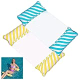 N\C Hamaca Flotante Piscina Hamaca de Agua 4 En 1 Fácil de Inflar para Adultos Juego de 2 Tumbona Piscina Plegable Hinchable Colchoneta Hinchable Flotador Piscina Playa (Amarillo Azul)
